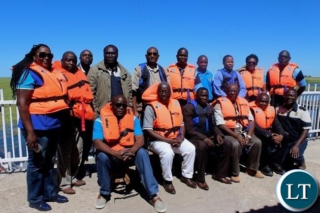 A group photo for board members of Zambezi River Authority (ZRA) during the tour of Matongo Platform, a Hydrometric Station on the Barotse Flood Plain in Mongu