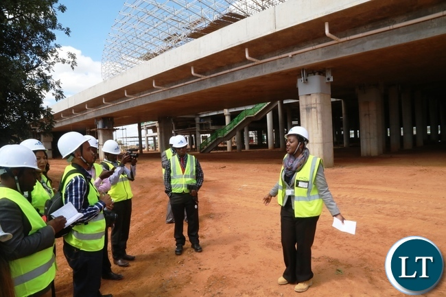 Mweembe Sikaulu KKIA Communications and Brand Manager taking to Journalists during the tour of Kenneth Kaunda International Airport y