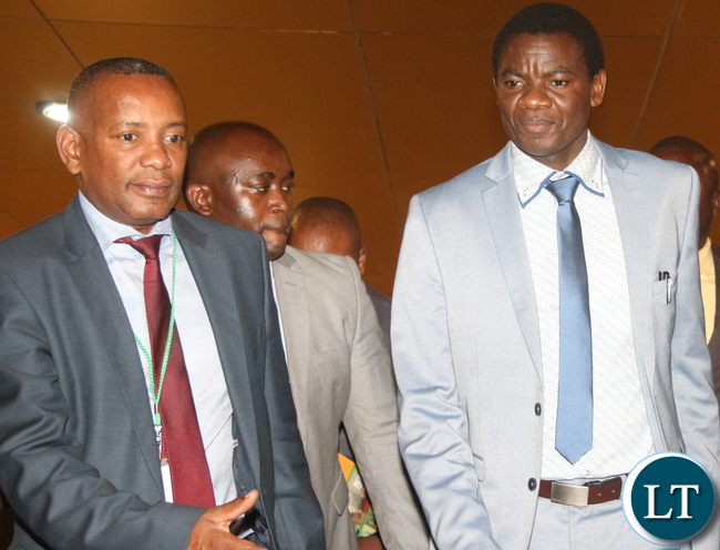 "Energy Minister David Mabumba with ZESCO Managing Director Victor Mundende during ZESCO ""New Strategic Road Map"" launch at Lusaka Radisson Blu Hotel on Thursday, 11th May 2017."