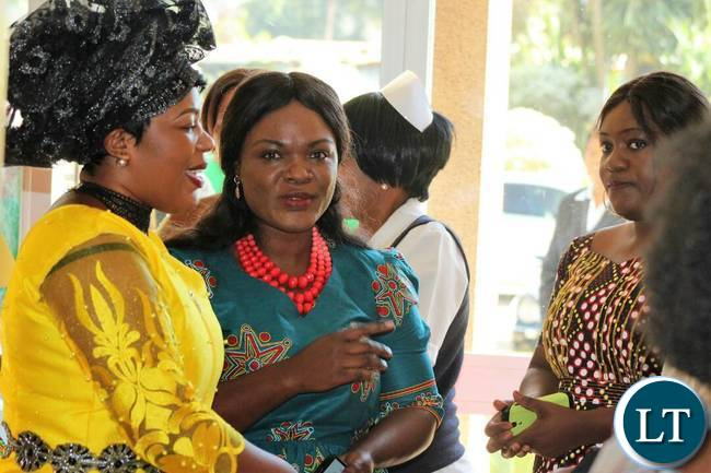 Mrs Lusambo (in yellow dress) on arrival at Ndola Teaching Hospital