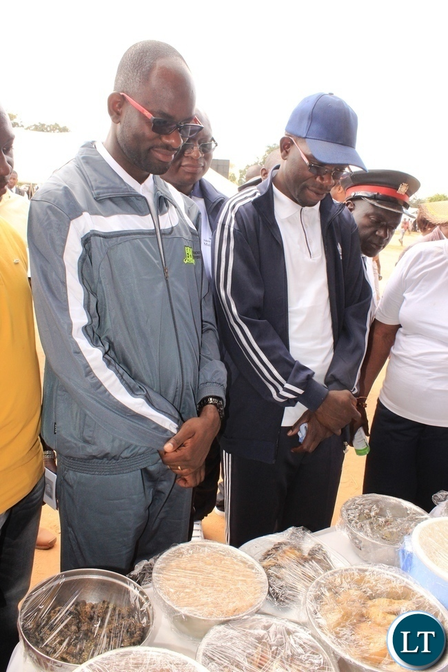 Copperbelt Province Permanent Secretary, Elias Kamanga, and Kitwe District Commissioner, Binwell Mpundu, admire some of the healthy foods that were displayed by the Ministry of Health and the Ministry of Agricultrure during the launch of the National Health Week at Wusakile Ground in Kitwe