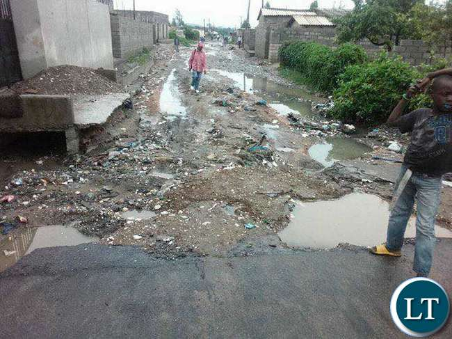 Some of the damaged sections of the roads in Matero during the rainy season