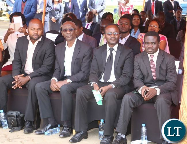 -National Restoration Party Elias Chipima (2nl) attending the 2017 Labour Day Celebration at Freedom Statue yesterday 01-05-2017. Picture by ROYD SIBAJENE/ZANIS