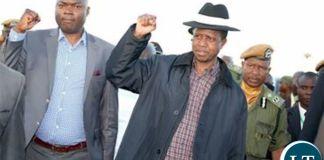President Lungu with Copperbelt Minister Lusambo flashing the PF symbol