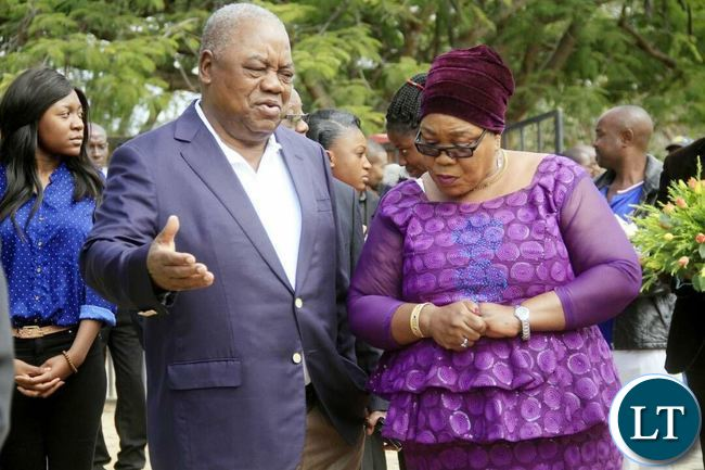 Fourth Republican President Rupiya Banda(l) and Former First Lady Vera Tembo Chiluba (r) during Memorial Service for the late second Republican President Fredrick Chiluba at Embassy Park in Lusaka