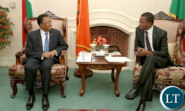 President Edgar Lungu with President of Madagascar His Excellency Hery Rajaonarimampianina  during the official Talks  at State house in Lusaka. President Rajaonarimampianina will tour the COMESA Head of office as he is the current chairperson of the 19 member states body. He will also visit a bottling plant and a commercial farm.- Picture  by Eddie Mwanaleza/Statehouse 07-06-2017