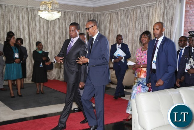 President Edgar Lungu flanked by His excellency Mr Paul Kagame President of the Republic of Rwanda after a photo session at State House
