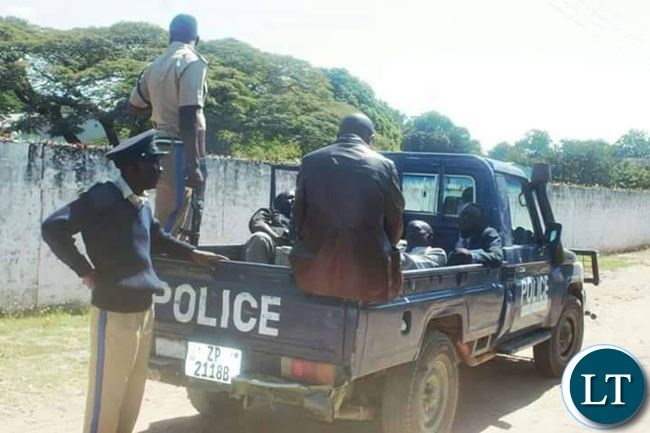 The police Vehicle carrying UPND Executive Committee Members and some journalists in Mongu