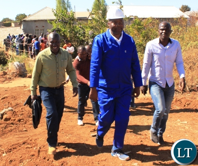 Copperbelt Province Minister, Bowman Lusambo, inspects projects in Mine Masala area of his constituency (Kabushi) in Ndola on Saturday. Picture by TISA BANDA-NKHOMA/ZANIS.