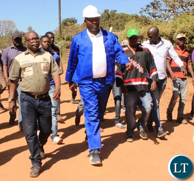 Copperbelt Province Minister, Bowman Lusambo, inspects road projects in Lubuto area of his constituency (Kabushi) in Ndola on Saturday. Picture by TISA BANDA-NKHOMA/ZANIS.