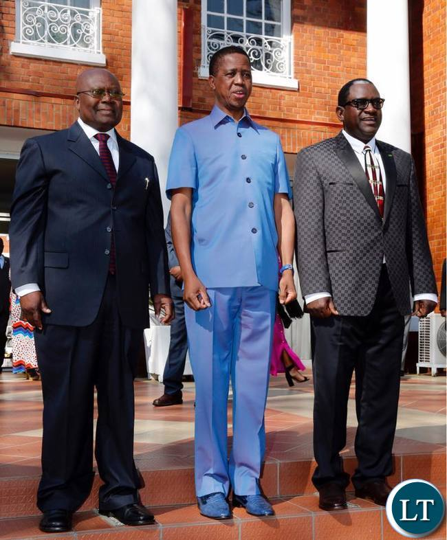 President Edgar Chagwa Lungu (centre) with Zambia's High Commissioner to Canada Felix Nicholas Mfula (left) and Zambia's Ambassador to the Republic of Korea Wylbur Chisiya Simuusa poses for a photo at State House after their swearing in ceremony on Thursday, August 3,2017. PICTURE BY SALIM HENRY/STATE HOUSE ©2017