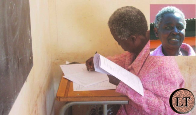 MRS Mulomba Mutakwa sitting for her History examination paper.