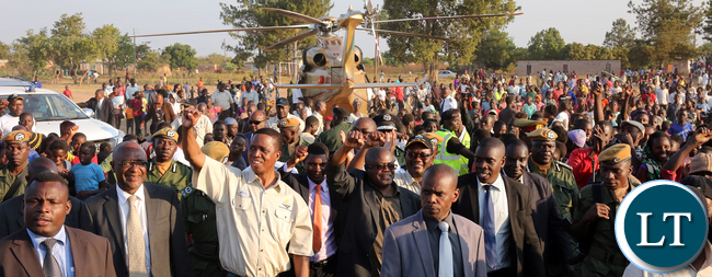 President Edgar Lungu arrive at Ground Breaking Ceremony for Nseluka -Kayambi and Mungwi Township Roads Project in Northern Province