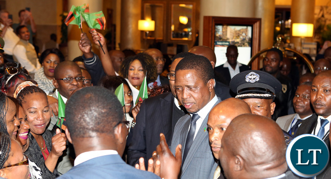 Zambian in South Africa Welcomes President Edgar Lungu at the Hotel last night