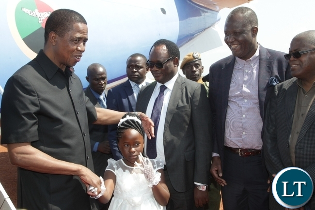 President Edgar Lungu on arrival at Kasama International Airport for the official launch of Block 31 Oil and Gas exploration by Tullow Zambia limited.