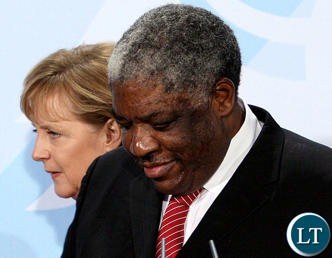 FILE: Late President Levy Patrick Mwanawasa pictured here with German Chancellor Angela Merkel in December 2007 led the charge for opposition to Genetically Modified Food (GMO)
