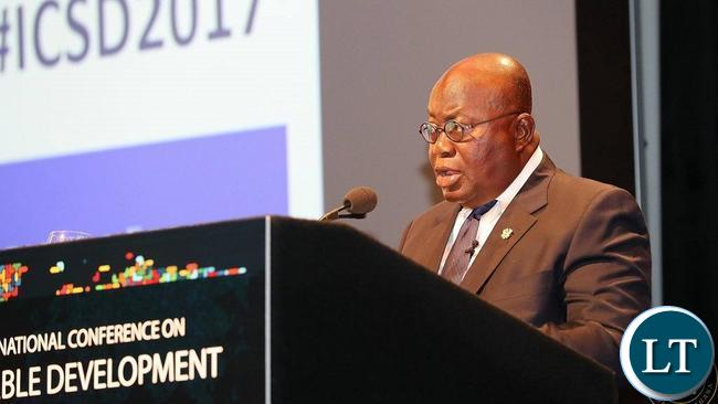 Ghana's Akufo-Addo delivers a lecture at the Colombia university.