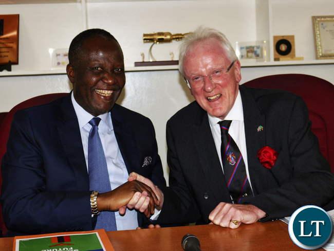 Finance Minister Felix Mutati and London Mayor Andrew Parmley