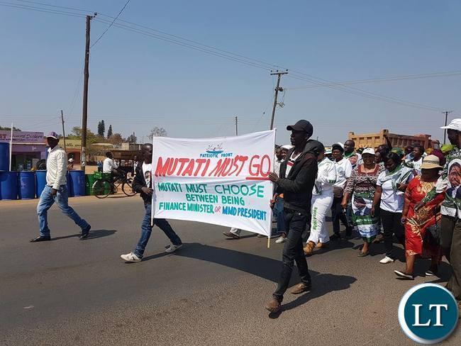 Kabwe PF protesting against Mutati