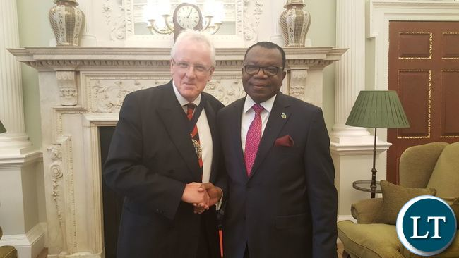 His Excellency Mr. Muyeba Chikonde with the Lord Mayor of the City of London, Alderman Dr. Andrew Parmley