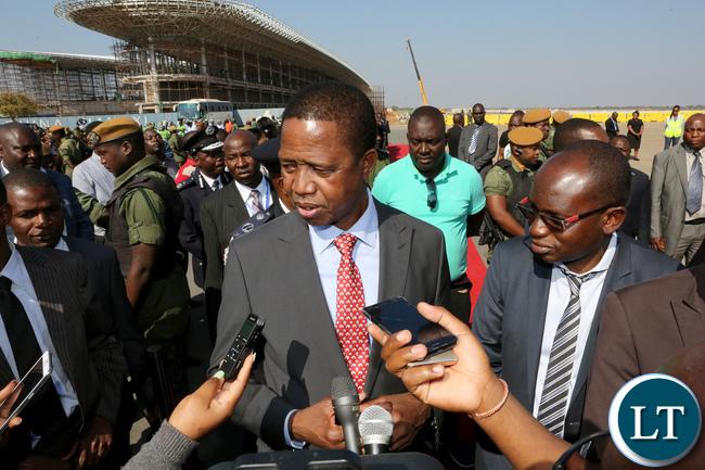 President Edgar Lungu Press Interview at KK international airport 9131