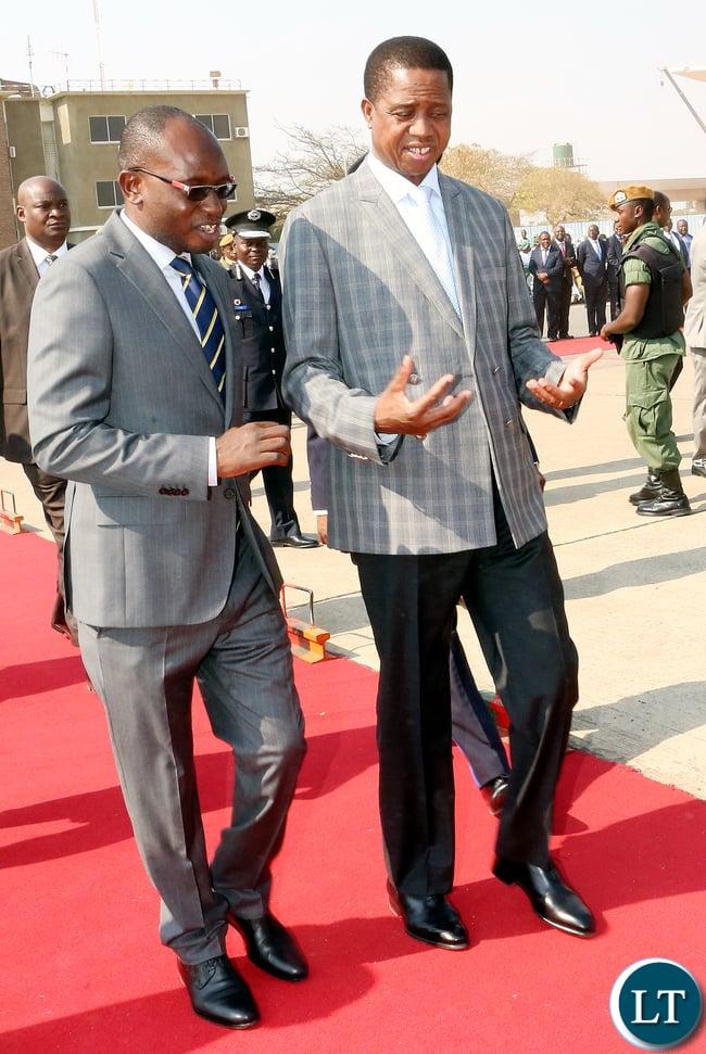 President Edgar Lungu with Amos Chanda
