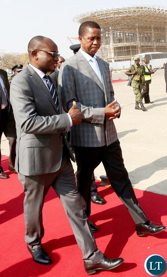 President Lungu with Amos Chanda