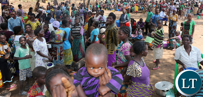 Congo DRC refugees at Kenani camp transit centre in the Nchelenge