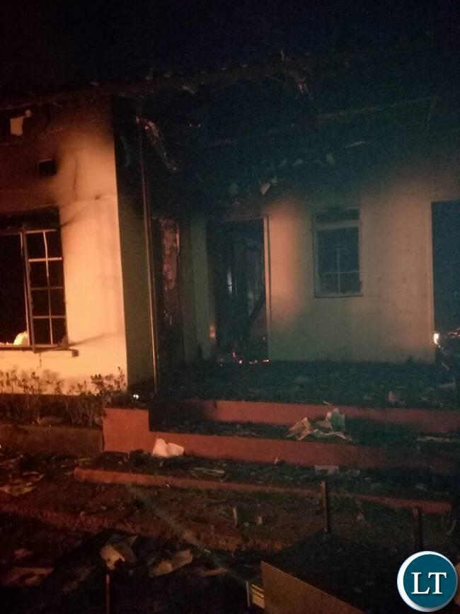 Burnt down Mufumbwe Police Station