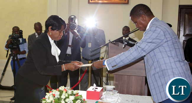 President Edgar Lungu Swearing in Mrs Cecilia Nsenduluka Mbewe - Clerk of the National Assembly at Statehouse