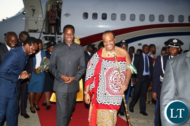 President Edgar Lungu having a light moment with King Muswati III shorty on his arrival at  Kenneth Kaunda International Airport yesterday 04-11-2017. Picture by ROYD SIBAJENE/ZANIS