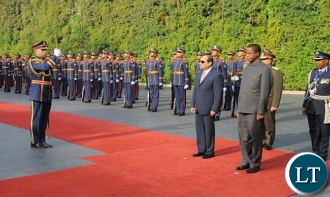 Egypt's Sisi during a reception ceremony to his Zambian counterpart Edgar Lungu in Cairo (Photo-Ahram)
