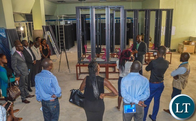 Zamtel Senior Technical Manager Technical Clifton Masua briefing Journalists on the modernisation of the Woodlands Technical Centre during a media tour on Tuesday, November 14th 2017.