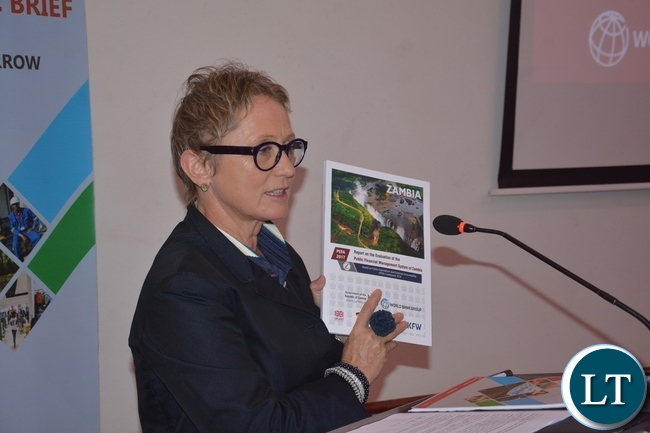 World Bank Country Manager Ina Ruthenberg explains on the book called Zambia Economic Brief shortly before the World Bank Launches of the tenth of Zambia Economic Brief at Pamondzi Hotel