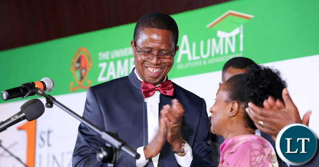 President Edgar Lungu at UNZA Alumni fund rasing Dinner dince at mulungushi international Conference centre last night