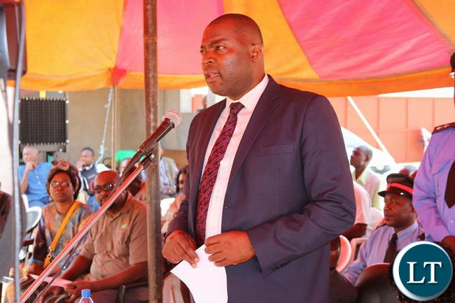 Copperbelt Minister Bowman Lusaka Lusambo during the commissioning of a a Solar Milling Plant