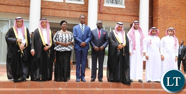 President Edgar Lungu and First Lady Esther Lungu taking official photo with the term from Saudi Arabia shortly after they called on the first lady at State House