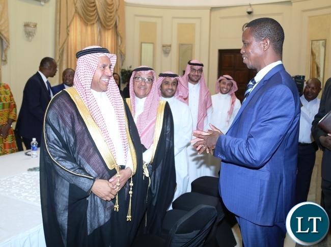 President Edgar Lungu welcomes Ambbassodor of the Kingdom of Saudi Arabia Abdullah Alowalfeer and his term when the Saudi Arabia called on the first lady at State House