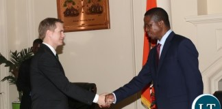 President Edgar Lungu welcomes sweden Minister of Education Gustav Fridolin when he paid a courtesy call on him at State House