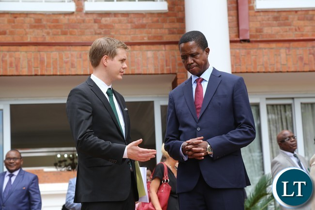 Sweden Minister of Education Gustav Fridolin talks to President Edgar Lungu when he paid a courtesy call on him at State House