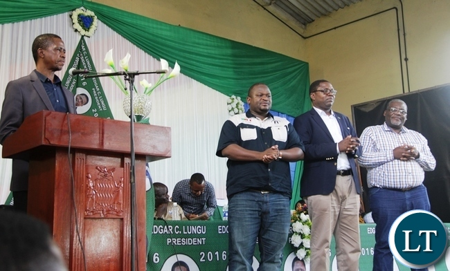 President Lungu addressing Copperbelt PF Officials