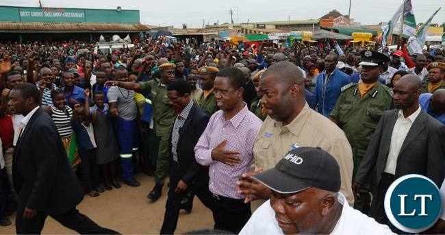 President Edgar Lungu (centre) accompanied by Copperbelt Province Minister Bowman Lusambo (second from right) walks on the streets of Masala Township in Ndola on Friday, February 9,2018. PICTURE BY SALIM HENRY/STATE HOUSE ©2018