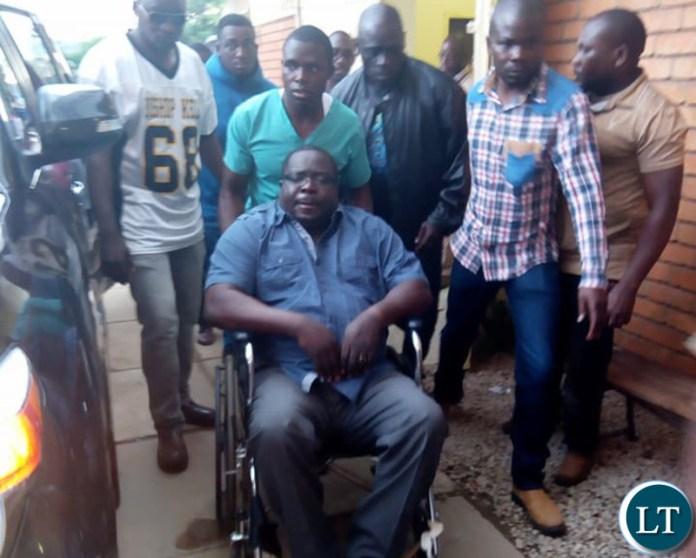 Kambwili after he failed to walk