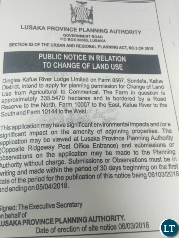 Public Notice on change of land use by Dingles Kafue River Lodge
