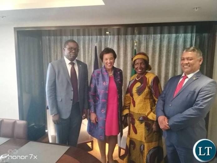 Commonwealth Secretary General Patricia Scotland with the Zambian delegation led by Vice President Inonge Wina