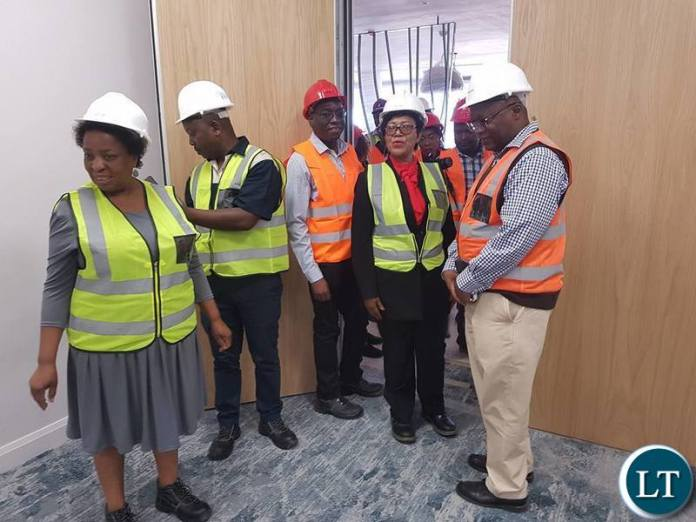 Labour Minister Joyce Nonde inspecting works at ECL Mall in Kitwe