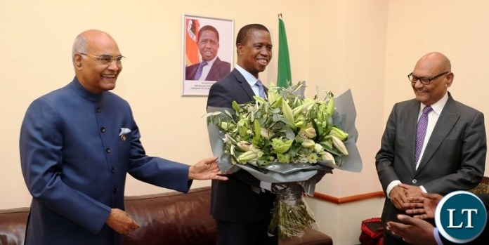 Vedanta Resources PLC Chairman Mr Ail Agarwal meets Indian President and President Lungu at Business Forum in Lusaka08I0109