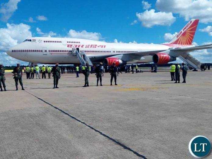 The Arrival of Indian President in Zambia