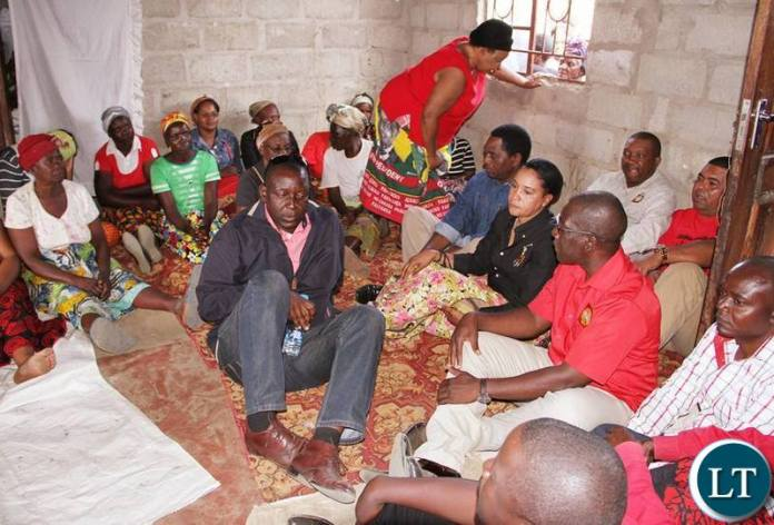 UPND Officials at the funeral house of a party member