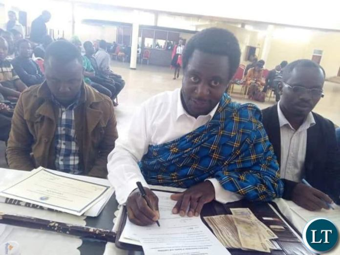Savior Chishimba during his filing in of his nomination papers at Civics Centre